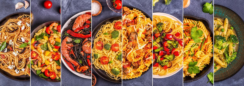 Коллаж различных блюд макаронных изделий стоковая фотография
