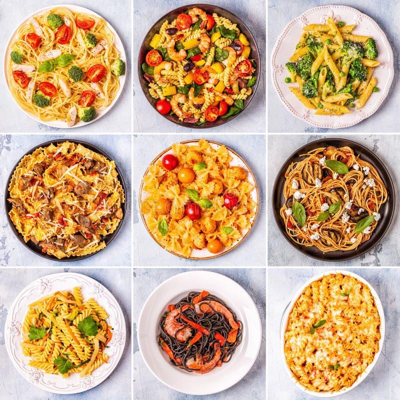 Коллаж различных блюд макаронных изделий стоковая фотография rf