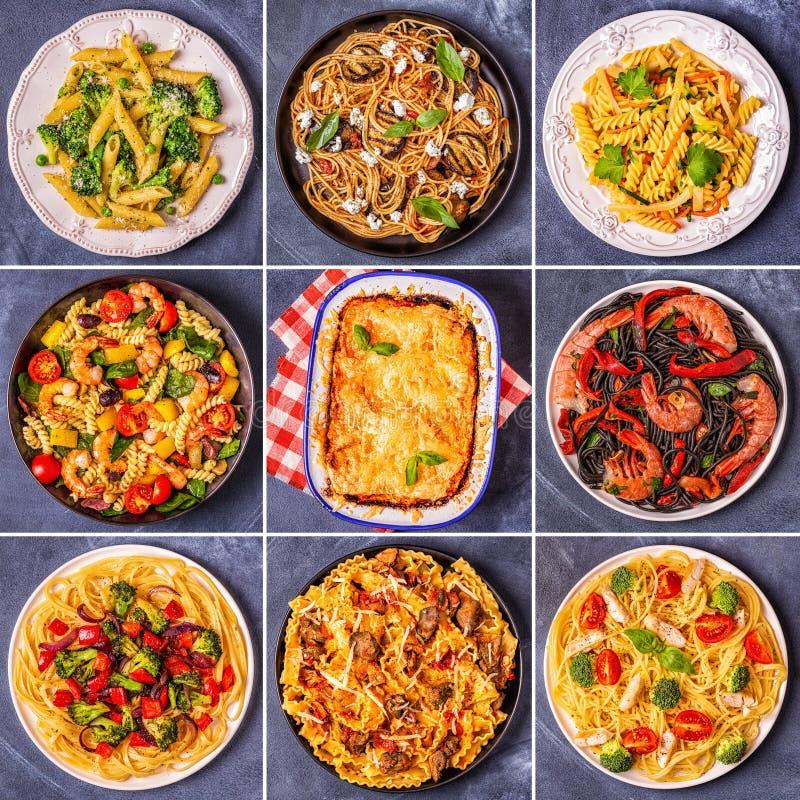 Коллаж различных блюд макаронных изделий стоковое фото