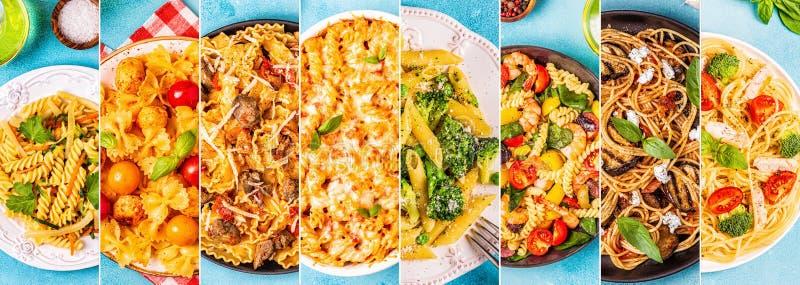 Коллаж различных блюд макаронных изделий стоковое изображение rf