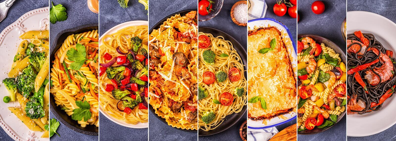 Коллаж различных блюд макаронных изделий стоковое изображение