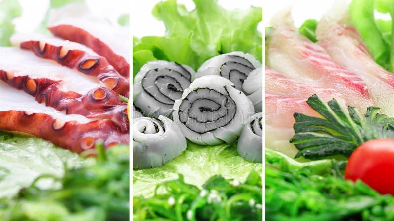 Коллаж различных продуктов морепродуктов на белой предпосылке стоковое фото rf