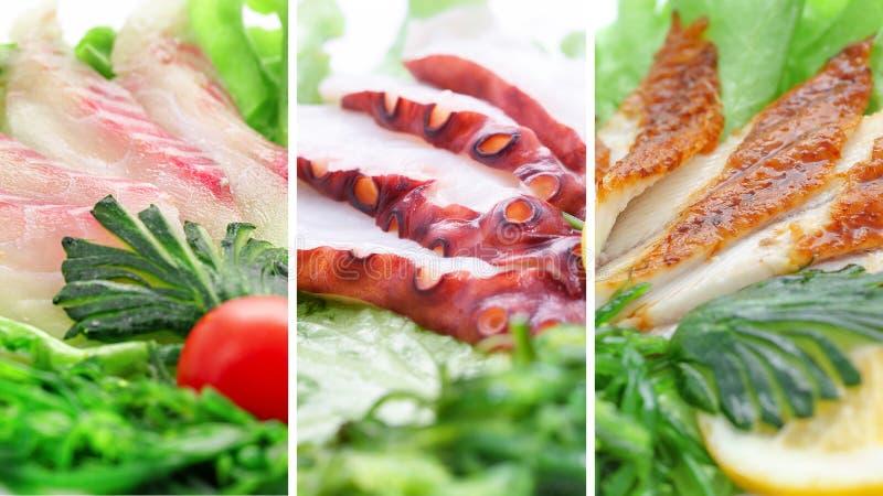 Коллаж различных продуктов морепродуктов на белой предпосылке стоковое фото