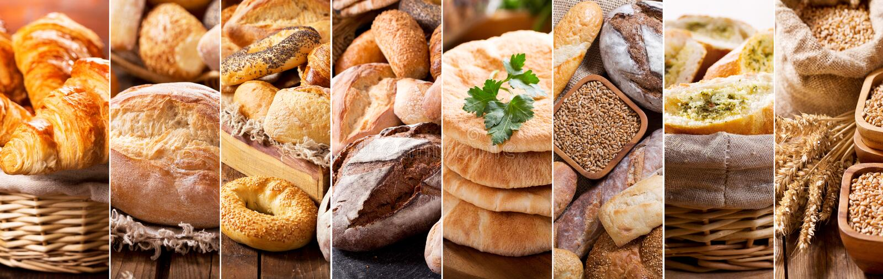 Коллаж различных типов свежего хлеба стоковые изображения rf