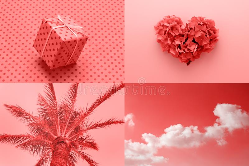 Коллаж романтичного Валентайн воодушевленный путем жить цвет коралла t стоковая фотография