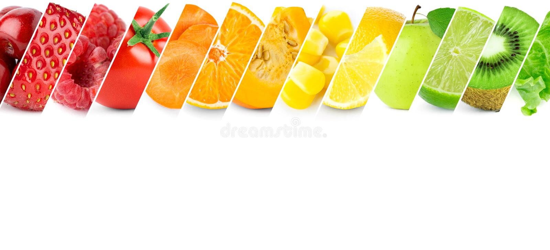 Коллаж свежих фруктов и овощей стоковая фотография rf