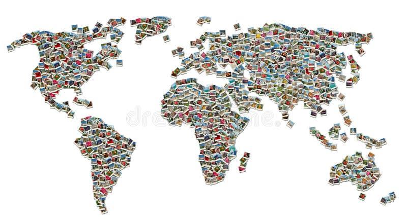 коллаж сделал мир перемещения фото карты стоковые изображения rf