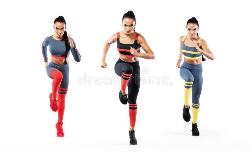 Коллаж сильного спринтера атлетических, женщин, бежать носить в мотивировке sportswear, фитнеса и спорта бегунок стоковое фото