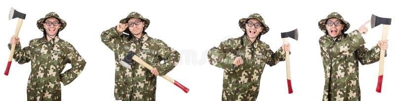 Коллаж смешных фото солдата стоковое изображение