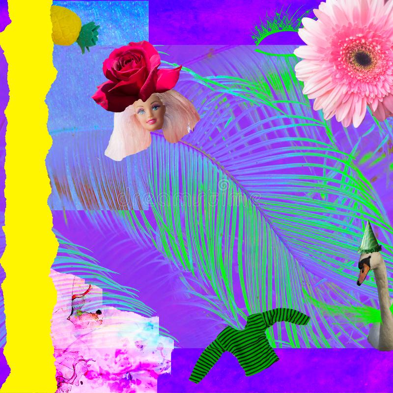 Коллаж современного искусства; голова куклы с цветком вместо шляпы, листьев ладони и цветков; Коллаж моды стоковая фотография rf