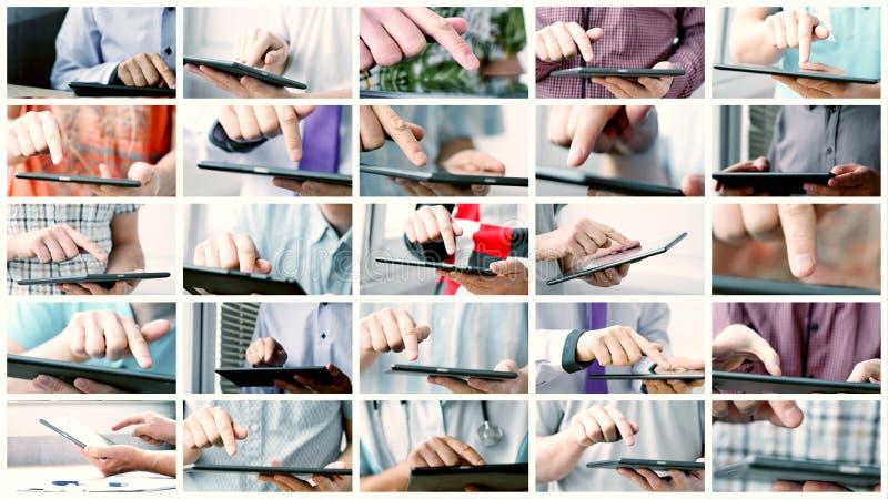 Коллаж сползая и печатая экрана касания умных телефона или планшета стоковые фото