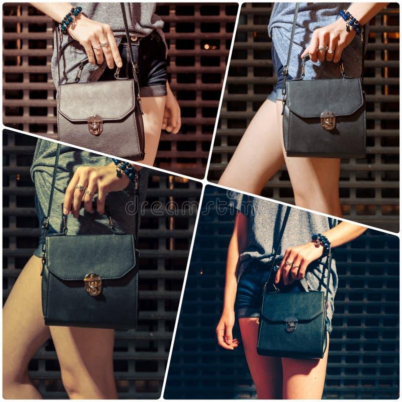 Коллаж среднего раздела девушки с сумкой стоковые изображения rf
