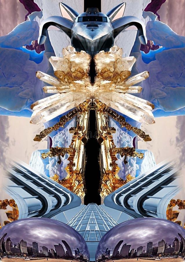 Коллаж с кристаллами, айсберги, архитектура, самолет и искусство возражают стоковые изображения rf