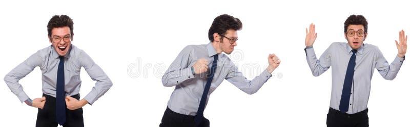 Коллаж с молодым бизнесменом на белизне стоковая фотография rf