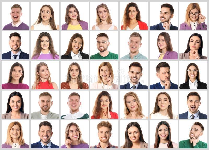 Коллаж с портретами эмоциональных людей на белизне стоковое фото rf