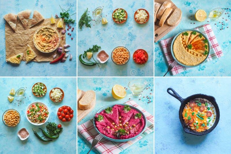Коллаж с различными блюдами нута кухни мира стоковое изображение