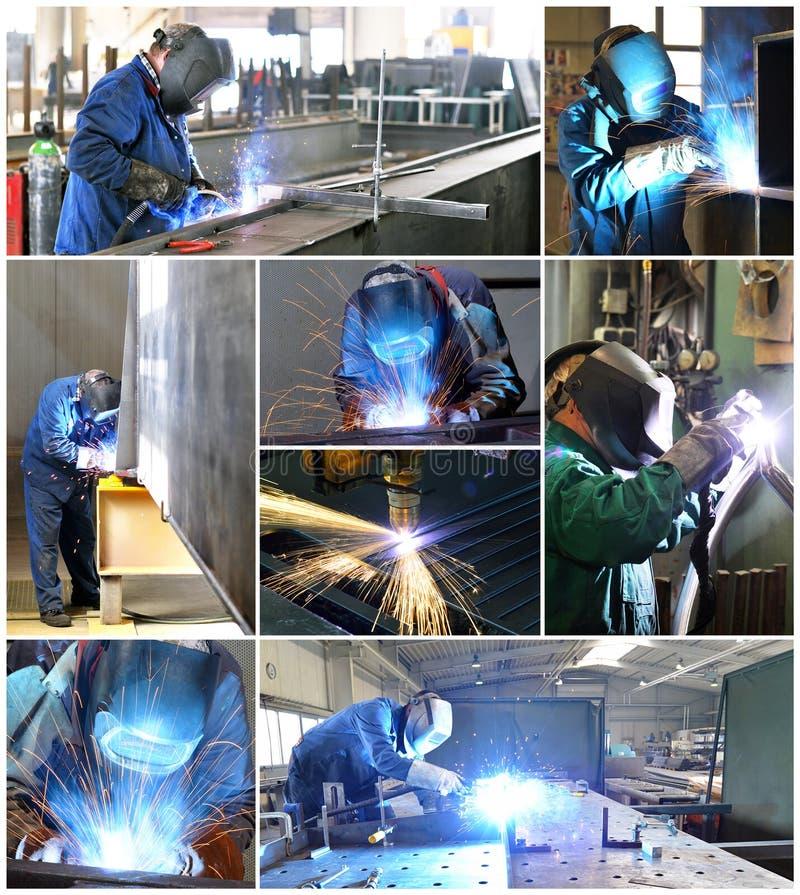 Коллаж с сварщиками на рабочем месте в индустрии стоковые изображения