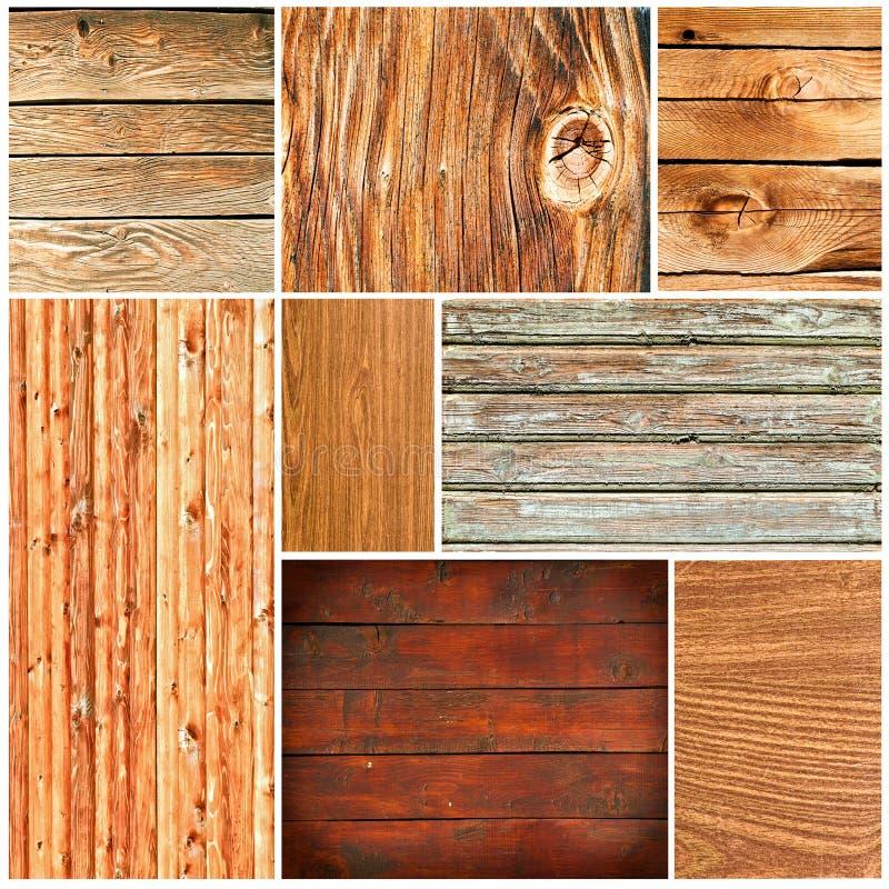 коллаж текстурирует древесину стоковое изображение