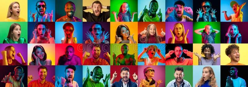 Коллаж удивленных людей стоковая фотография rf