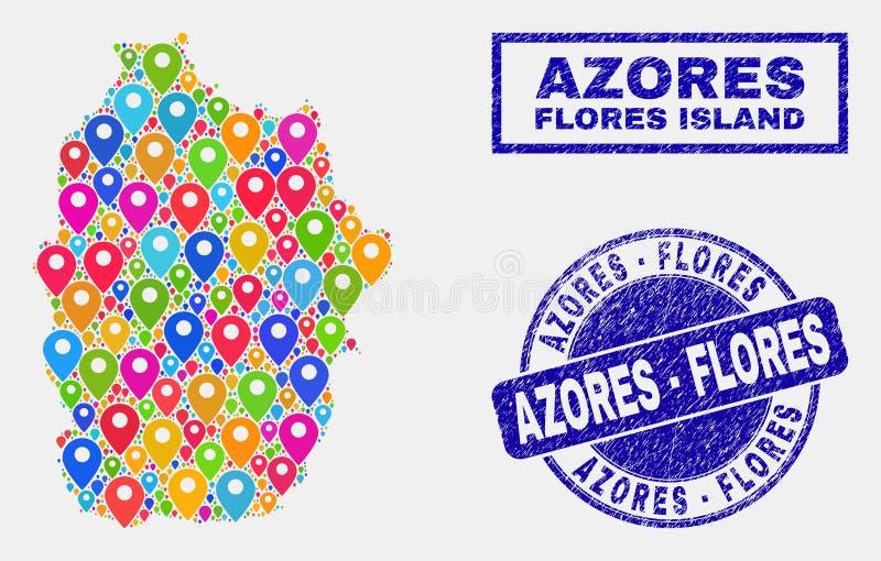 Коллаж указателей карты острова Flores уплотнений карты и дистресса Азорских островов иллюстрация вектора