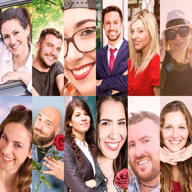 Коллаж усмехаясь людей стоковая фотография