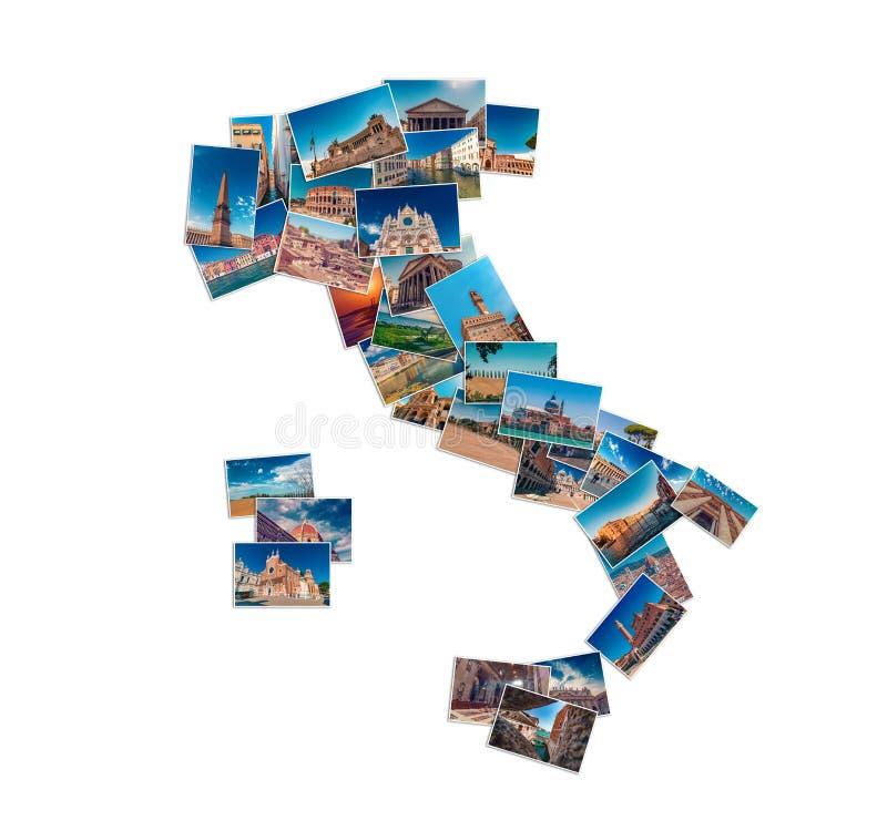 Коллаж фото сделанный из ориентиров перемещения Италии стоковые фото