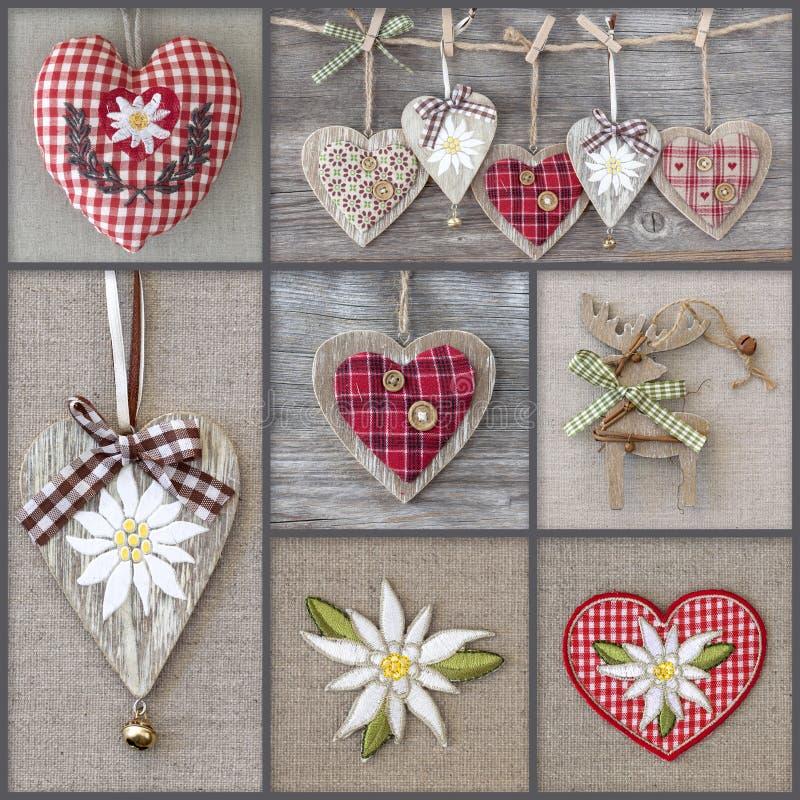 Коллаж фото с сердцами стоковая фотография