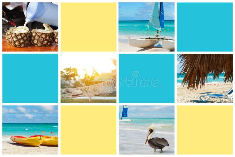 Коллаж фото тропического карибского острова r Куба, Варадеро иллюстрация штока