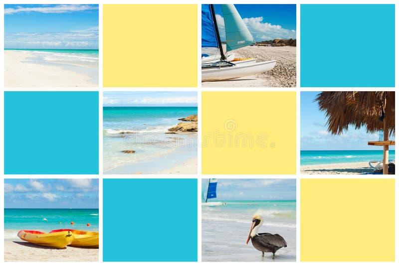 Коллаж фото тропического острова r Куба, Варадеро иллюстрация штока