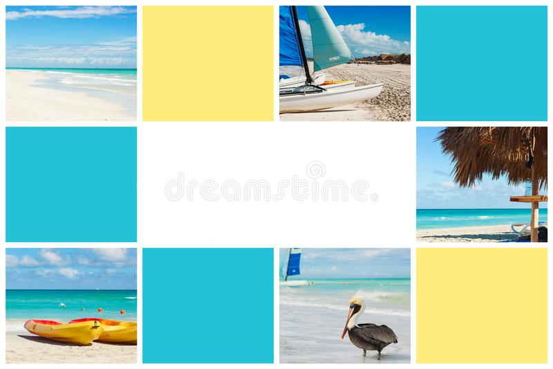 Коллаж фото тропического острова r Куба, Варадеро r иллюстрация вектора