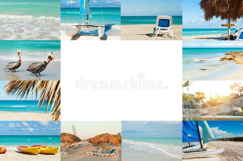 Коллаж фото тропического острова r Куба, Варадеро Свободное место для текста иллюстрация вектора