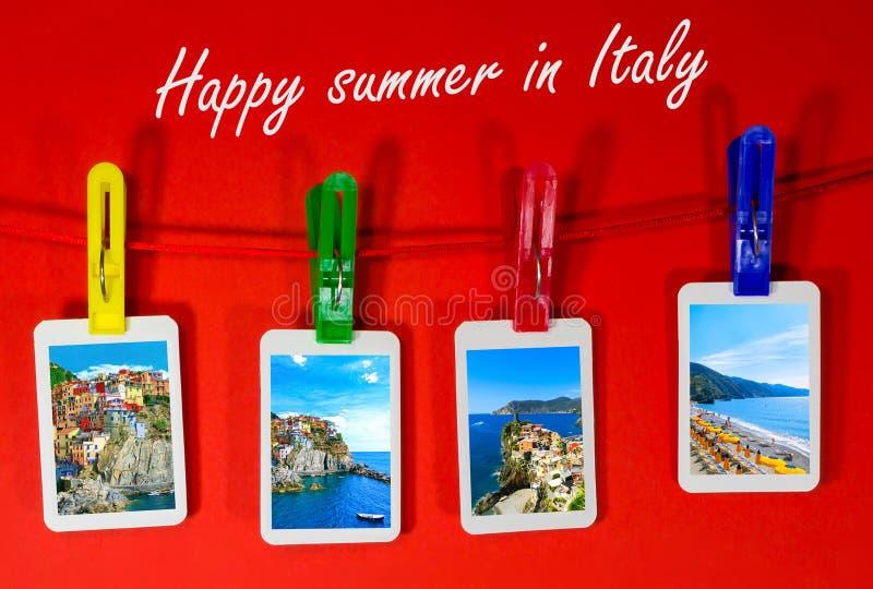Коллаж фото Cinque Terre в Италии стоковое фото rf