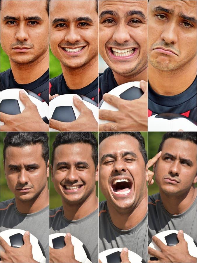 Коллаж футболиста взрослого мужчины испанский стоковые изображения rf