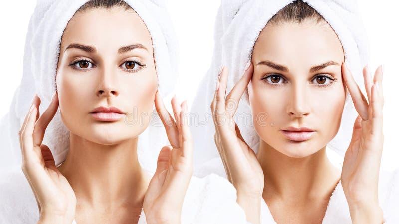 Коллаж чувственной женщины в купальном халате и полотенце ванны на голове стоковое фото