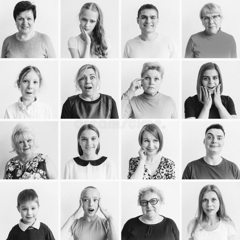 Коллаж эмоций женщин стоковые фотографии rf