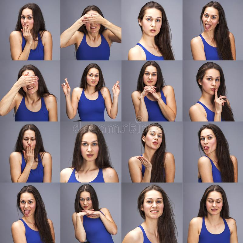 Коллаж эмоций - портрет модельных тестов молодой красивой женщины брюнета на серой предпосылке стоковое изображение rf