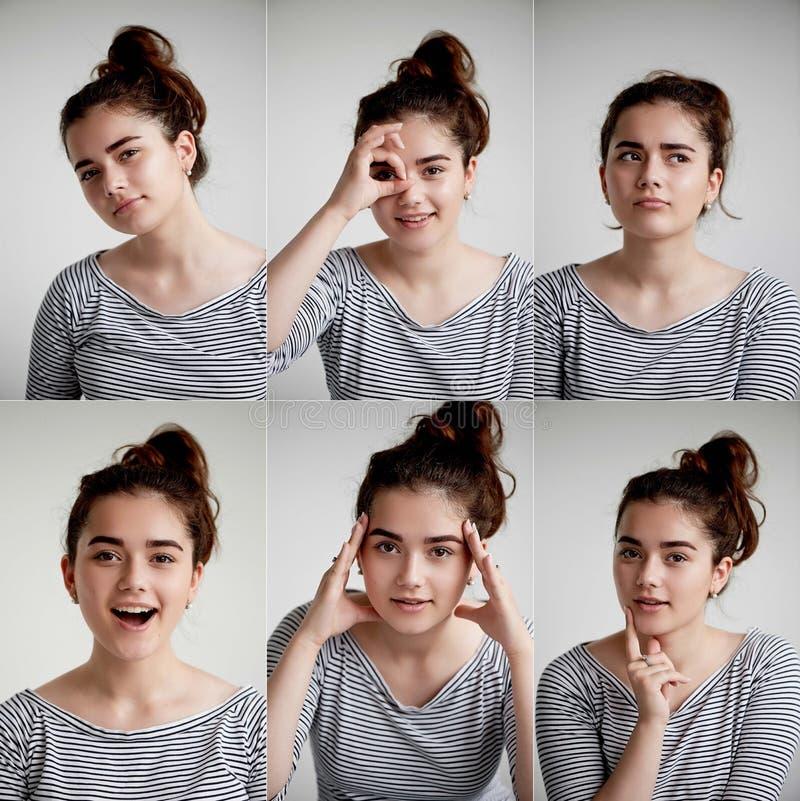 Коллаж эмоциональной девушки на белой предпосылке, смеси положительных и отрицательных эмоций с девушкой стоковое изображение rf