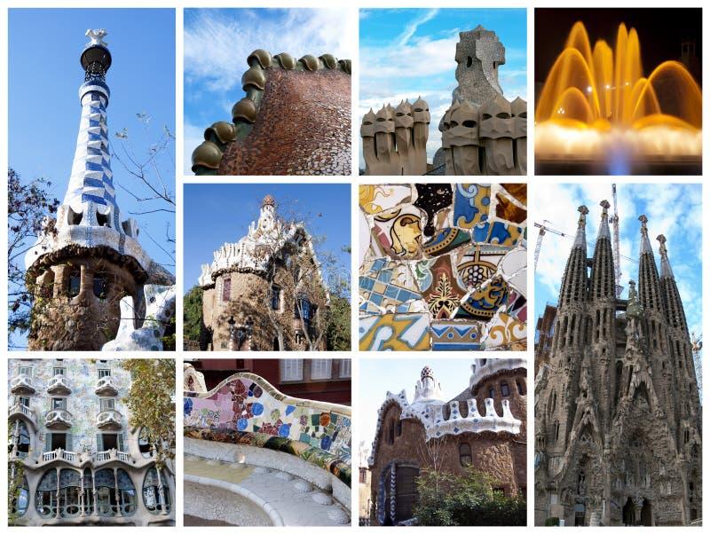 коллаж barcelona стоковое изображение