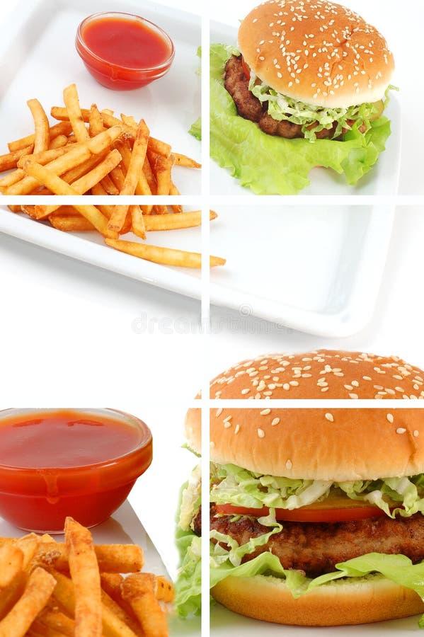 Коллаж Cheeseburger стоковое изображение rf