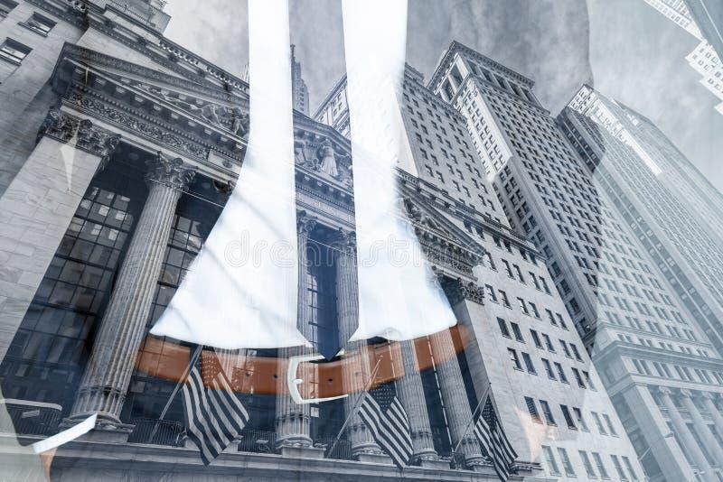 Коллаж conceptul корпоративного бизнеса, финансов, фондовой биржи и экономического процветания стоковые изображения rf