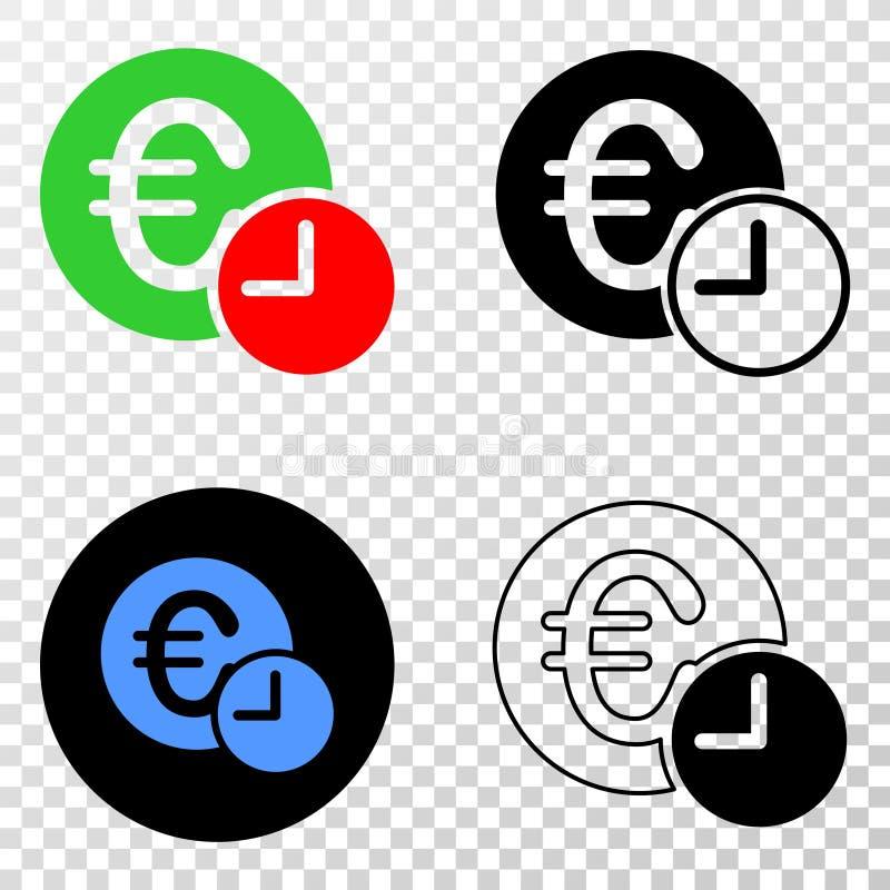 Коллаж Gradiented поставил точки время кредита евро и печать Grunged бесплатная иллюстрация