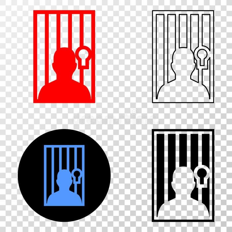 Коллаж Gradiented поставил точки заключенные в тюрьму человек и печать Grunged иллюстрация штока