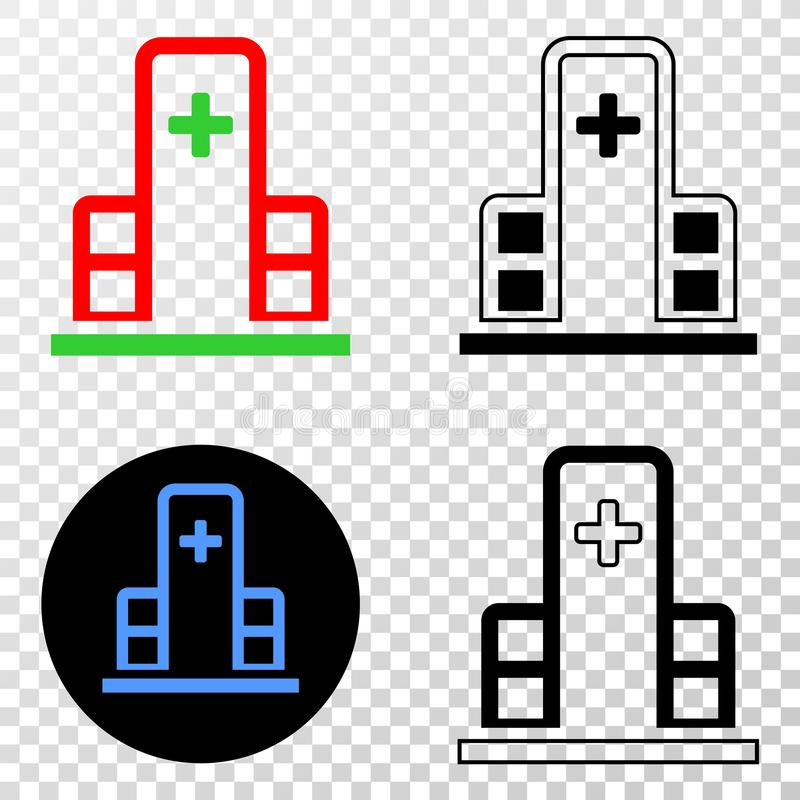 Коллаж Gradiented поставил точки здание клиники и печать Grunged бесплатная иллюстрация