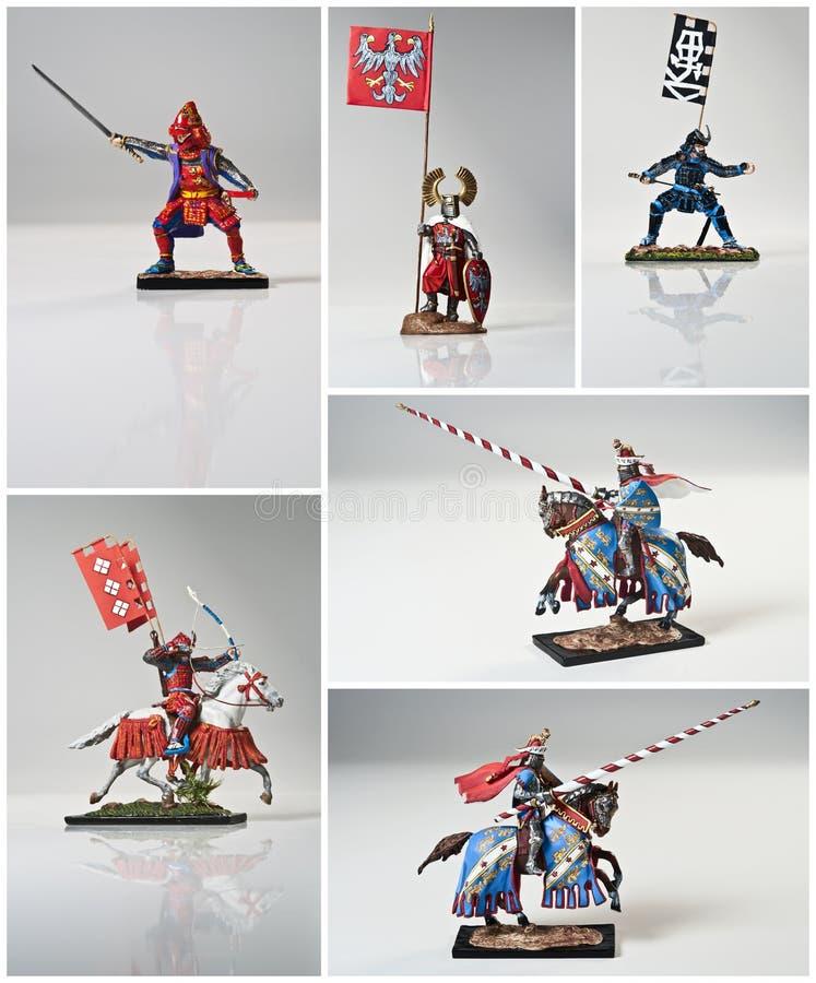 коллаж knights самураи стоковое изображение rf