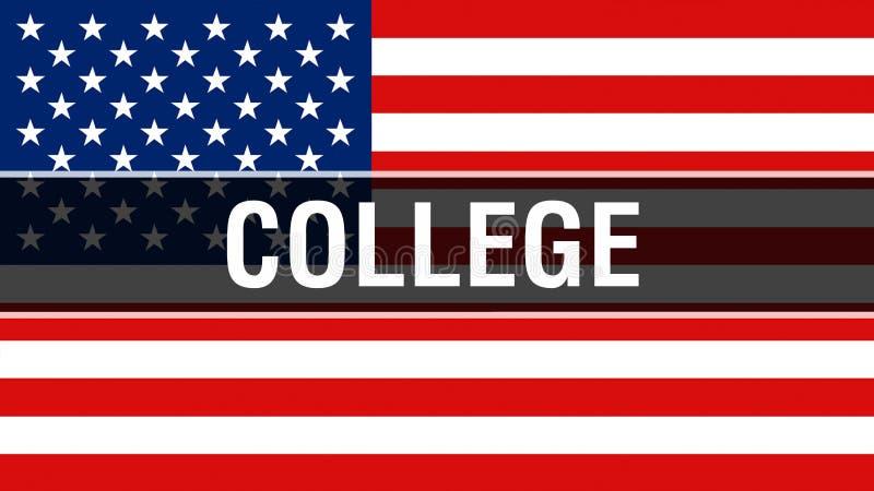 Коллеж на предпосылке флага США, перевод 3D Флаг Соединенных Штатов Америки развевая в ветре Гордый американский флаг развевая, бесплатная иллюстрация