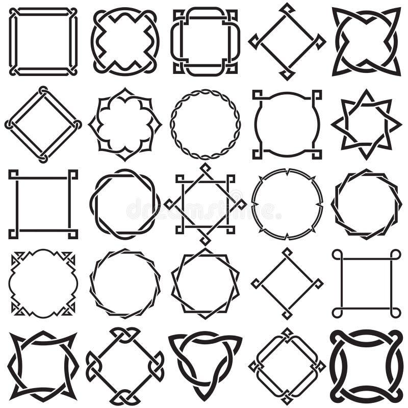 Коллекция декоративных фрагментов орнаментальной границы рукописного объекта иллюстрация штока