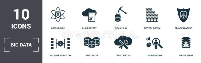 Коллекция значков набора больших данных Включает простые элементы, такие как Data Science, Cloud Report, Data Mining, Pattern Sys иллюстрация вектора