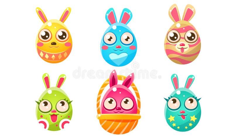 Коллекция милых глянцевых красочных забавных восточно-яйцеклеток, созданных в форме булочек, векторная иллюстрация мультфильмов иллюстрация вектора