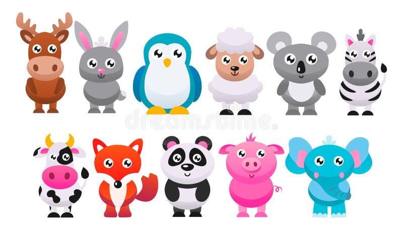 Коллекция милых мультипликационных животных Векторная плоская иллюстрация иллюстрация вектора