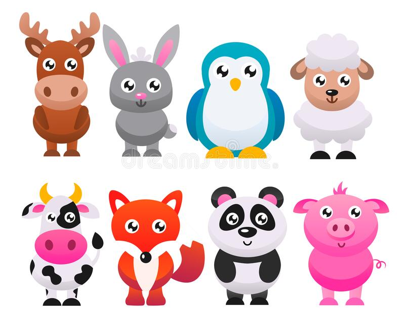 Коллекция милых мультипликационных животных Векторная плоская иллюстрация бесплатная иллюстрация